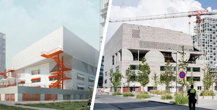 Links: zo zou het nieuwe schoolgebouw er ongeveer hebben uitgezien na afwerking.