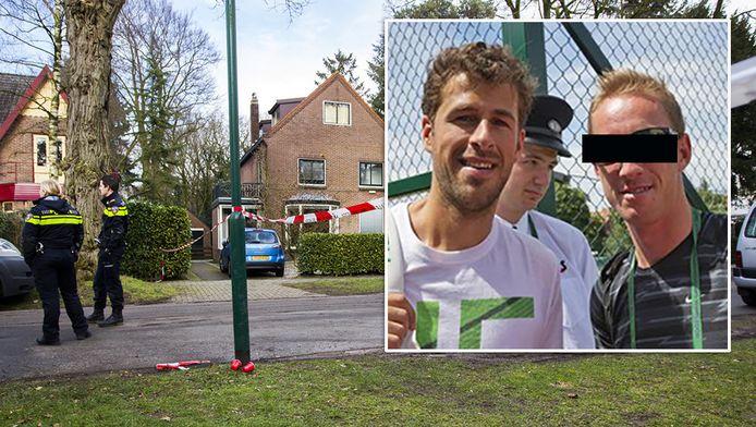 Politie bij het huis van Koen Everink in Bilthoven. Inzetje: Mark de J. (rechts) is de tenniscoach van Robin Haase (links).