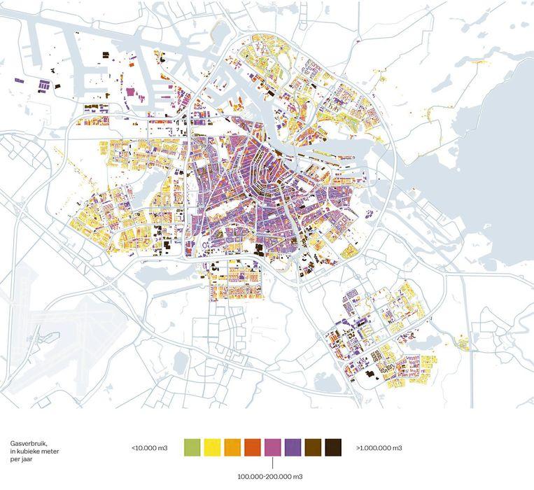 Het gasverbruik in Amsterdam per jaar. Beeld Gemeente Amsterdam/JV