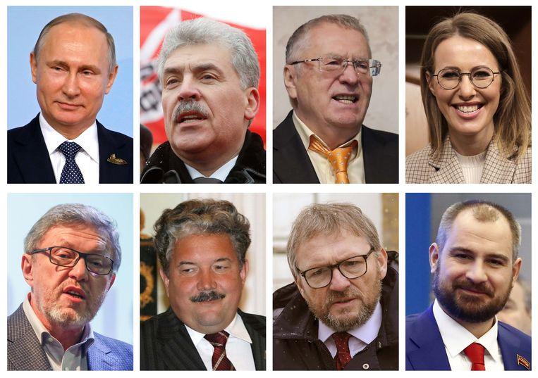 De acht kandidaten voor de Russische presidentsverkiezingen.  Boven, van links naar rechts: Vladimir Poetin, Pavel Groedinin, Vladimir Zjirinovski, Ksenia Sobtsjak. Onder, van links naar rechts: Grigori Javlinski, Sergej Baboerin, Boris Titov, Maksim Soerajkin.  Beeld REUTERS