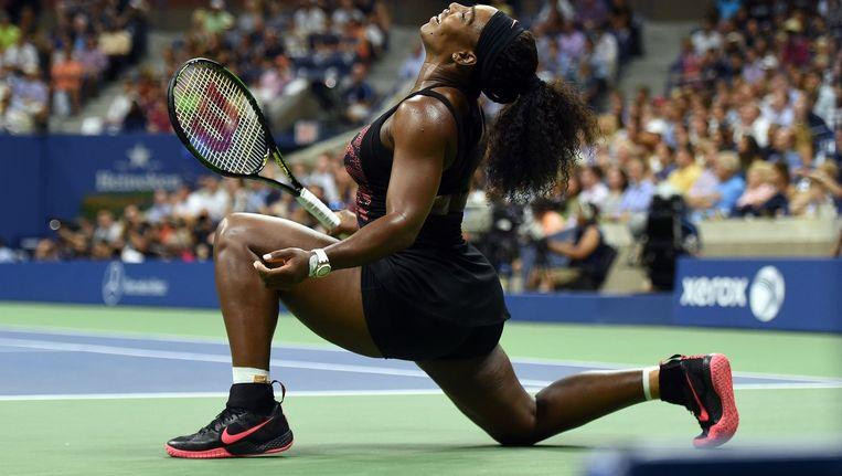 Serena Williams na haar overwinning Beeld afp