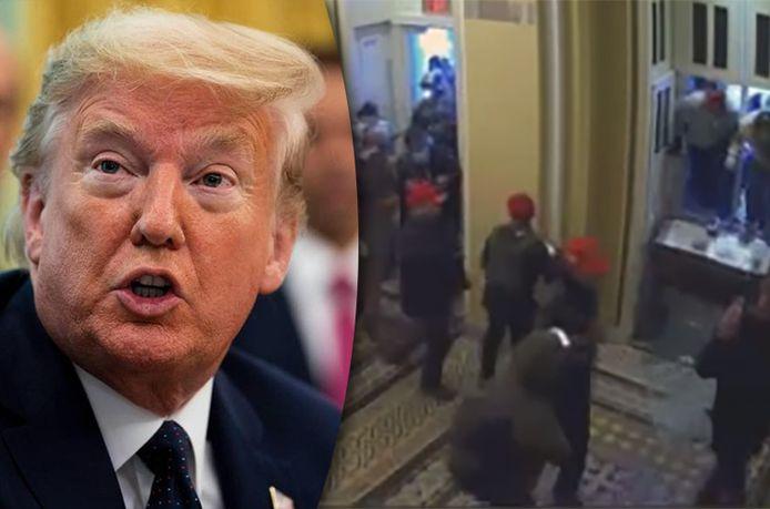 Nooit eerder getoonde bewakingsbeelden tonen de chaos in het Capitool tijdens de bestorming door Trump-supporters op 6 januari 2021.