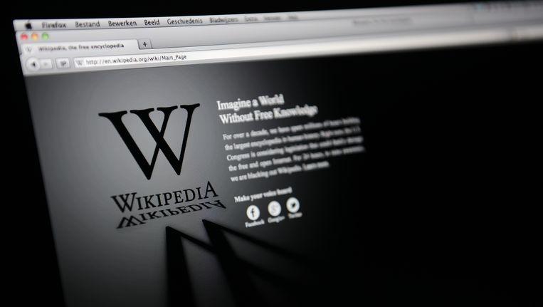 Het Engelstalige gedeelte van Wikipedia ging in 2012 op zwart uit protest tegen verminderde vrijheid op internet. Beeld ANP