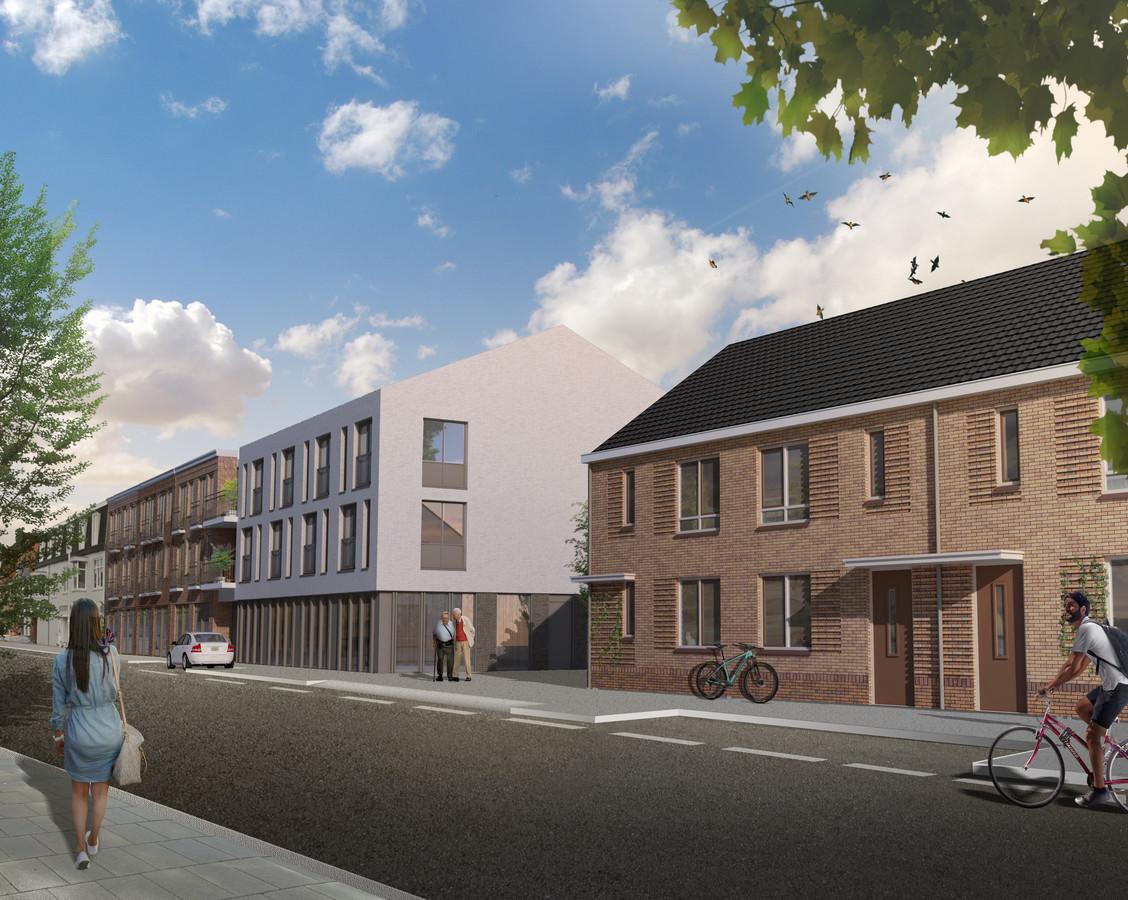 Gevarieerd bouwplan voor de Groenstraat. Rechts de huurwoningen, links de gebouwen voor de AHOED en zorgappartementen.