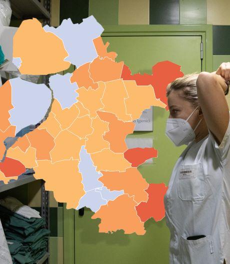 KAART   Coronabesmettingen Oost-Nederland blijven ongeveer gelijk, vier gemeenten met nul nieuwe gevallen