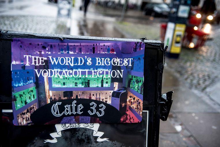 Café 33 in Kopenhagen heeft naar eigen zeggen 's werelds breedste aanbod in wodka.