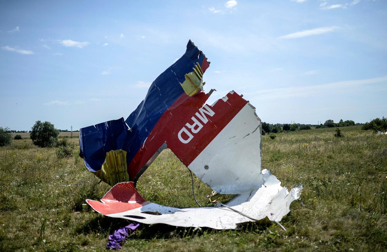 Een wrakstuk van Malaysia Airlines Flight MH17 (juli 2014).