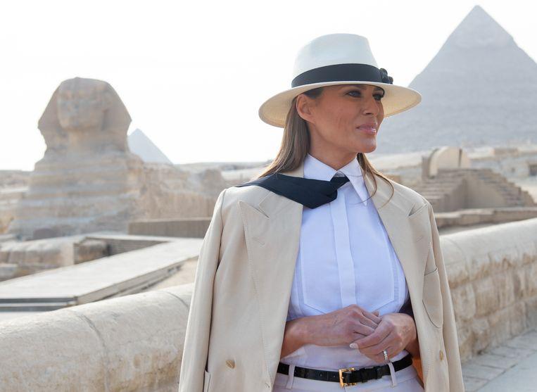 De Amerikaanse first lady Melania Trump tijdens haar bezoek aan Egypte op 6 oktober 2018.