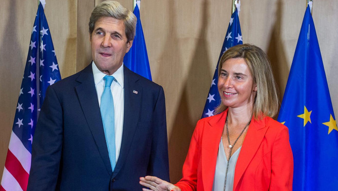 John Kerry in Brussel met EU-buitenlandchef Mogherini in Brussel