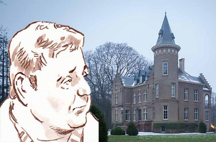 Het kasteel van Stijn Saelens in Wingene. Links inzet: Evert de C.