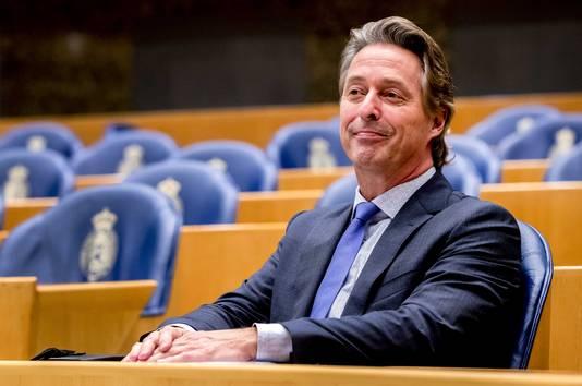 Kamerlid Edgar Mulder (PVV) tijdens het debat in de Tweede Kamer.