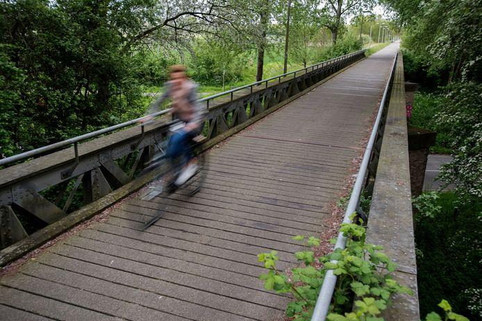De fietsbrug tussen Waalwijk en Drunen, een van de voormalige spoorbruggen