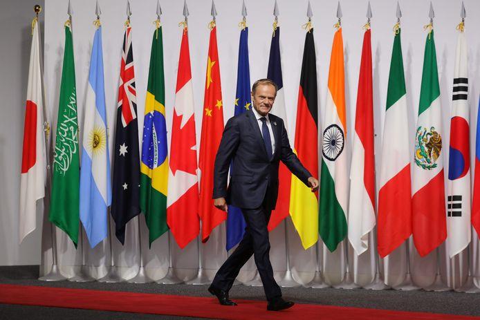 Donald Tusk is momenteel op de G20-top in Japan.