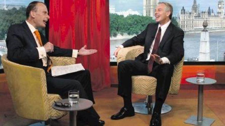 Oud-premier Blair promoot zijn autobiografie in een interview met Andrew Marr van de BBC. ( FOTO EPA) Beeld