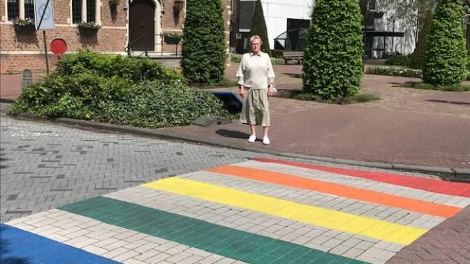 """Aartselaar onthult eerste twee regenboogzebrapaden: """"Op symbolische locatie, in het hart van onze gemeente"""""""