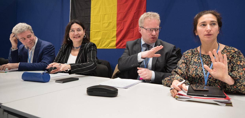 Alain Maron (Ecolo/Brussel), Marie-Christine Marghem (MR/federaal), Philippe Henry (Ecolo/Wallonië) en Zuhal Demir  (N-VA/Vlaanderen). Beeld BELGA
