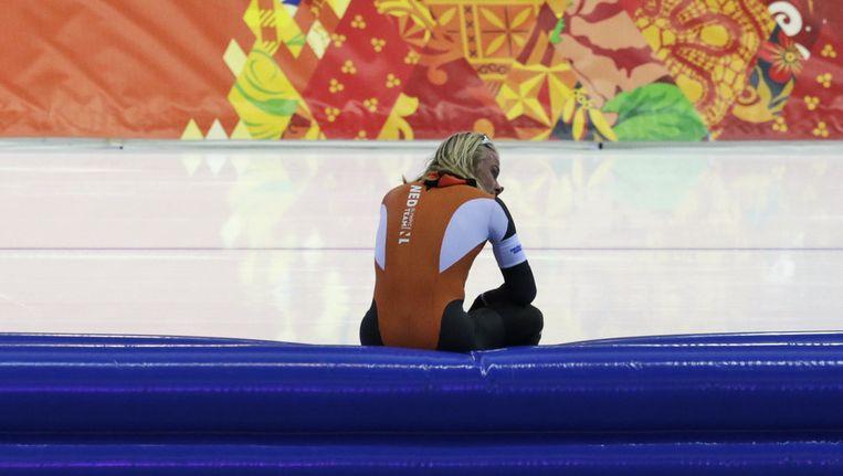 Koen Verweij is teleurgesteld na zijn tweede plek. Beeld ap