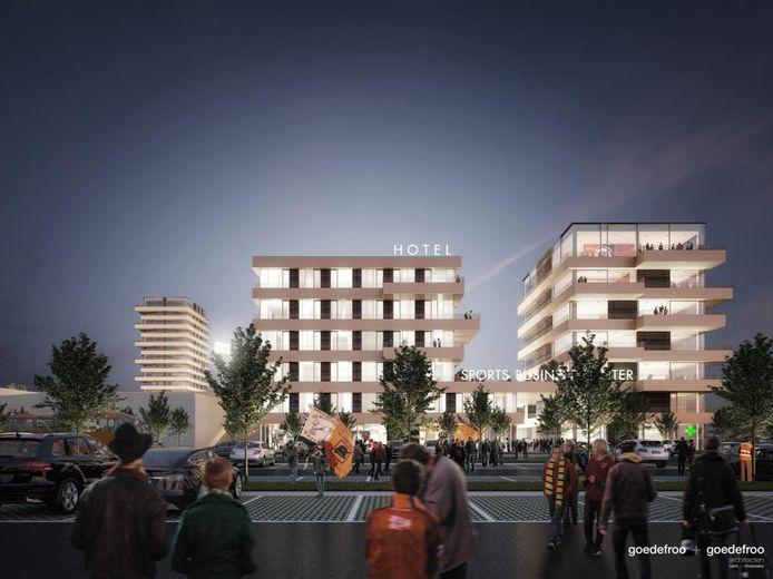 Zo zal het nieuwe voetbalstadion van SK Deinze eruitzien.