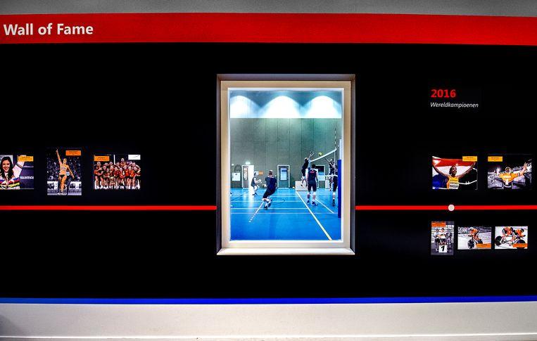 Een klein deel van de Wall of Fame op Papendal, met foto's van Nederlandse sporters die succes hebben gekend bij belangrijke titeltoernooien. Door het raam is een volleybaltraining te zien. Nog 200 dagen tot Tokio. Beeld Klaas Jan van der Weij