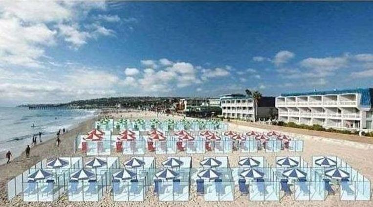 Het concept van een Italiaanse firma voor op het strand ziet er als volgt uit: twee meter hoge schermen van plexiglas worden rond twee ligstoelen en een parasol geplaatst. Beeld Nuova Neon Group 2