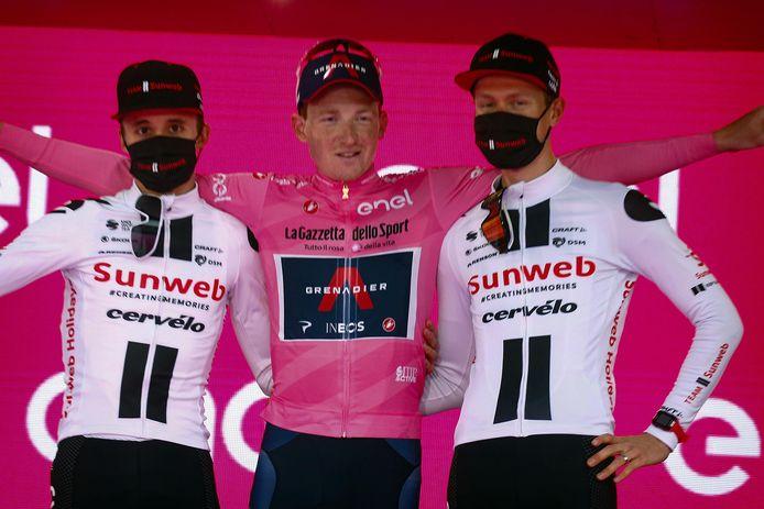 Kelderman (r) werd derde in de Ronde van Italië.