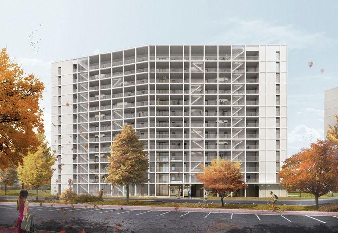De plannen voor een nieuw bouwblok, 5 verdiepingen hoger dan het huidige gebouw, en met een onderdoorgang van de Watersportbaan naar het achterliggende park