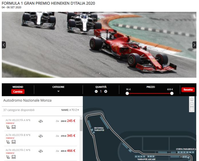 Screenshot website Monza