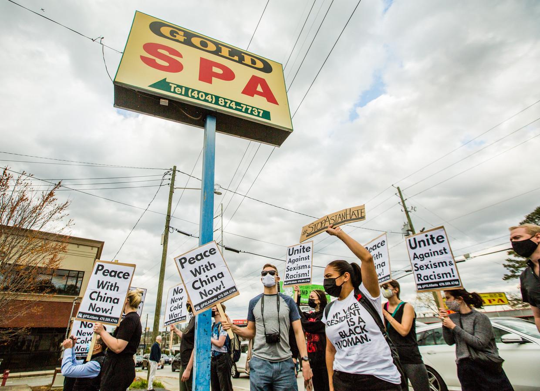 Een demonstratie tegen misogynie en anti-Aziatisch racisme in Atlanta, Georgia. Beeld EPA