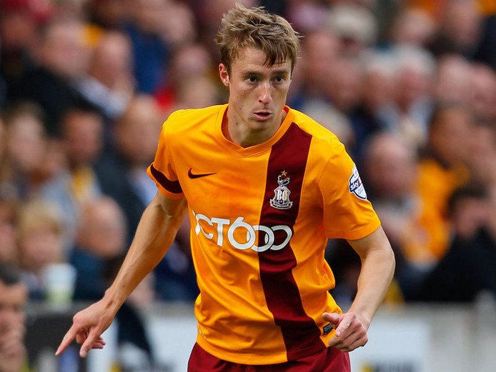 Stephen Darby in het shirt van Bradford City.