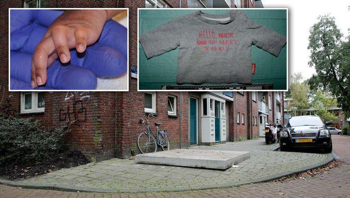 Een betonnen plaat dekt de plek af van de vuilcontainer in de Fritz Conijnstraat. Inzet: Het handje van het meisje en het shirtje dat ze droeg.