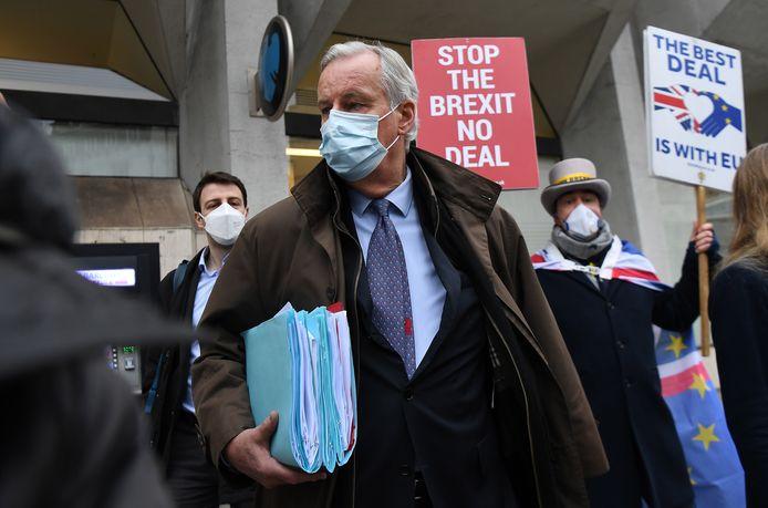 Europees hoofdonderhandelaar Michel Barnier vandaag in Londen.