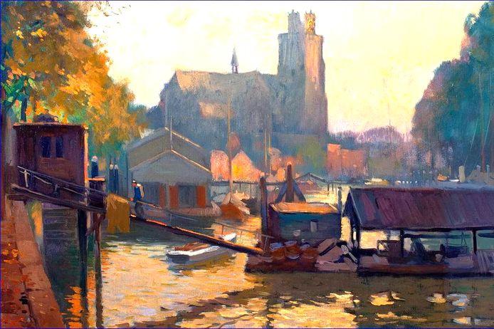 Het schilderachtige vlot van Van den Heuvel, later Van Balkom bij de Knolhaven tegenover de Vismarkt. In de verte 'de vijand' van de visvlotten, het botenhuis van de KDR&ZV (schilderij A.P. Schotel).