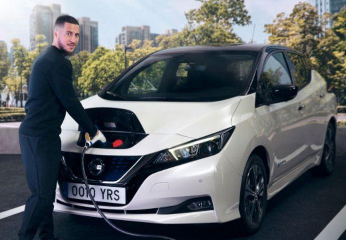 Eden Hazard conduit depuis mars une Nissan LEAF