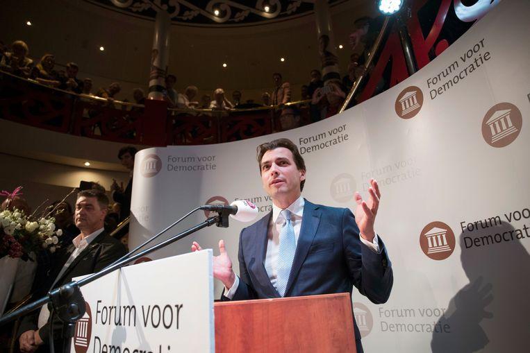 Thierry Baudet tijdens zijn overwinningsspeech in Zeist. Beeld Werry Crone