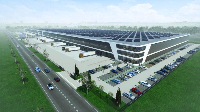 Impressie van het distributiecentrum dat Somerset op het Lelystad Airport Business Park wil bouwen.