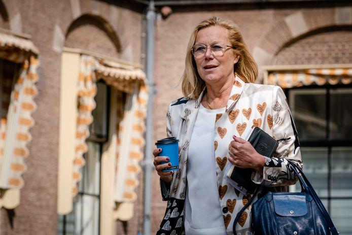 Sigrid Kaag (D66) arriveert op het Binnenhof voor een gesprek met de informateur.