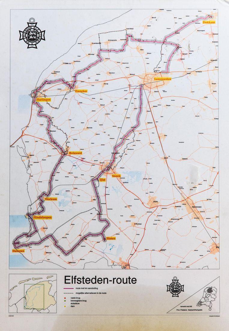 Oude routekaart op de kamer van Pim Marks Beeld Dingena Mol