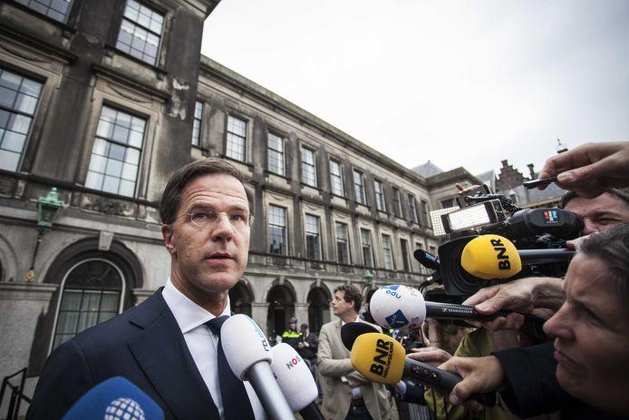 Mark Rutte (VVD) geeft een reactie op de vastgelopen formatie. De poging om een regering te vormen met VVD, CDA, D66 en GroenLinks is mislukt.