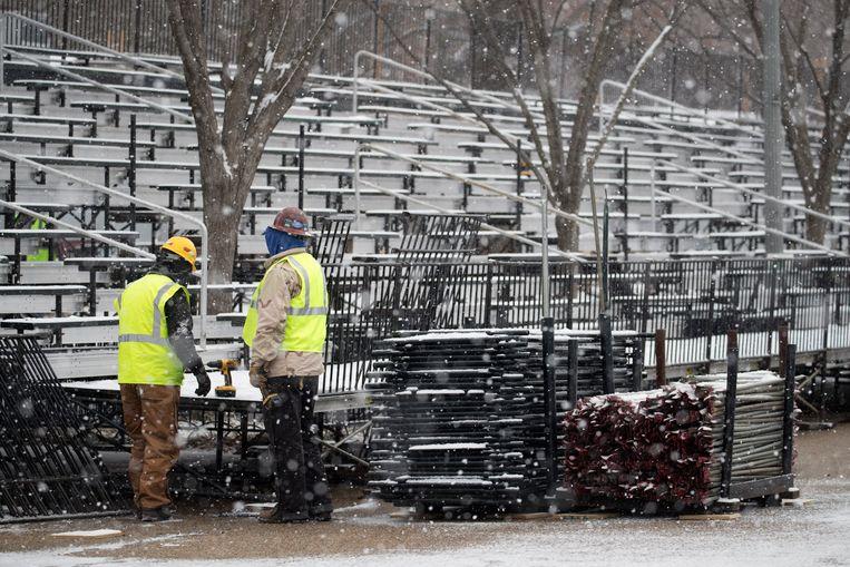 Tribunes worden opgebouwd voor de inauguratie op vrijdag 20 januari.