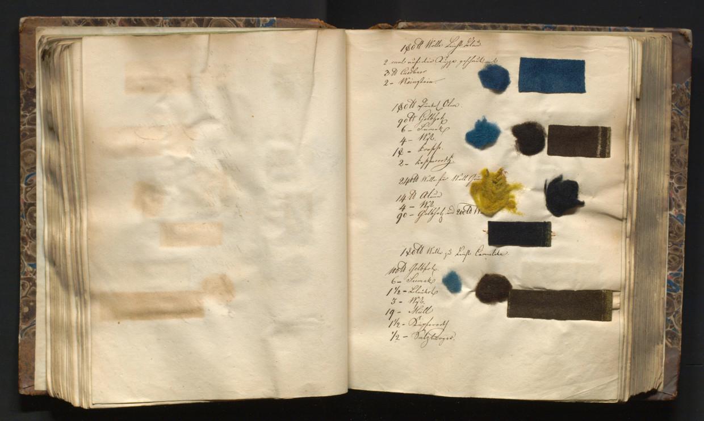 Verfboek van wollen stalen uit 1830-1831.