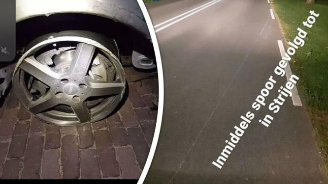 Automobilist rijdt met twee lekke banden naar huis en laat een spoor van krassen achter op het wegdek
