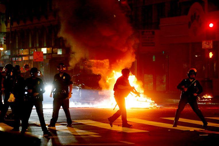 Rellen in Los Angeles Beeld Photo News