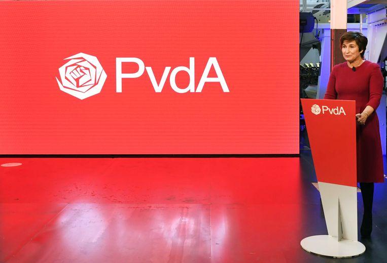 PvdA-lijsttrekker Lilianne Ploumen in het Textielmuseum tijdens de viering van het 75 jaar bestaan van de PvdA. Beeld ANP