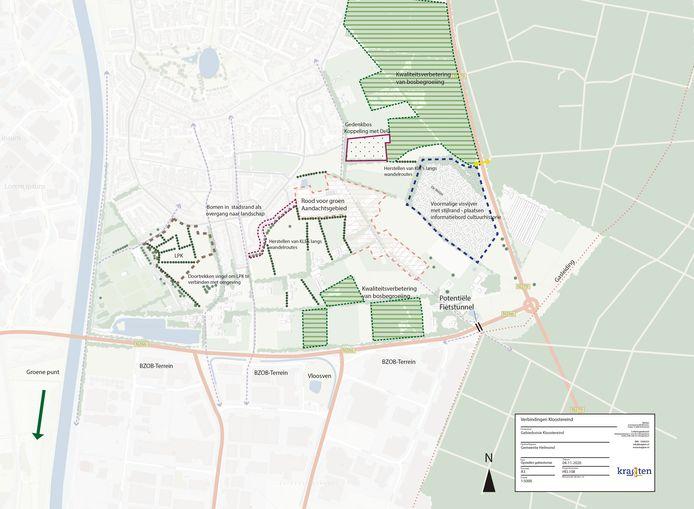 Overzicht van de diverse ideeën voor Landschapspark Kloostereind, tussen Brouwhuis en industrieterrein BZOB. De N266 aan de zuidkant van het plangebied is beter bekend als de Rochadeweg.