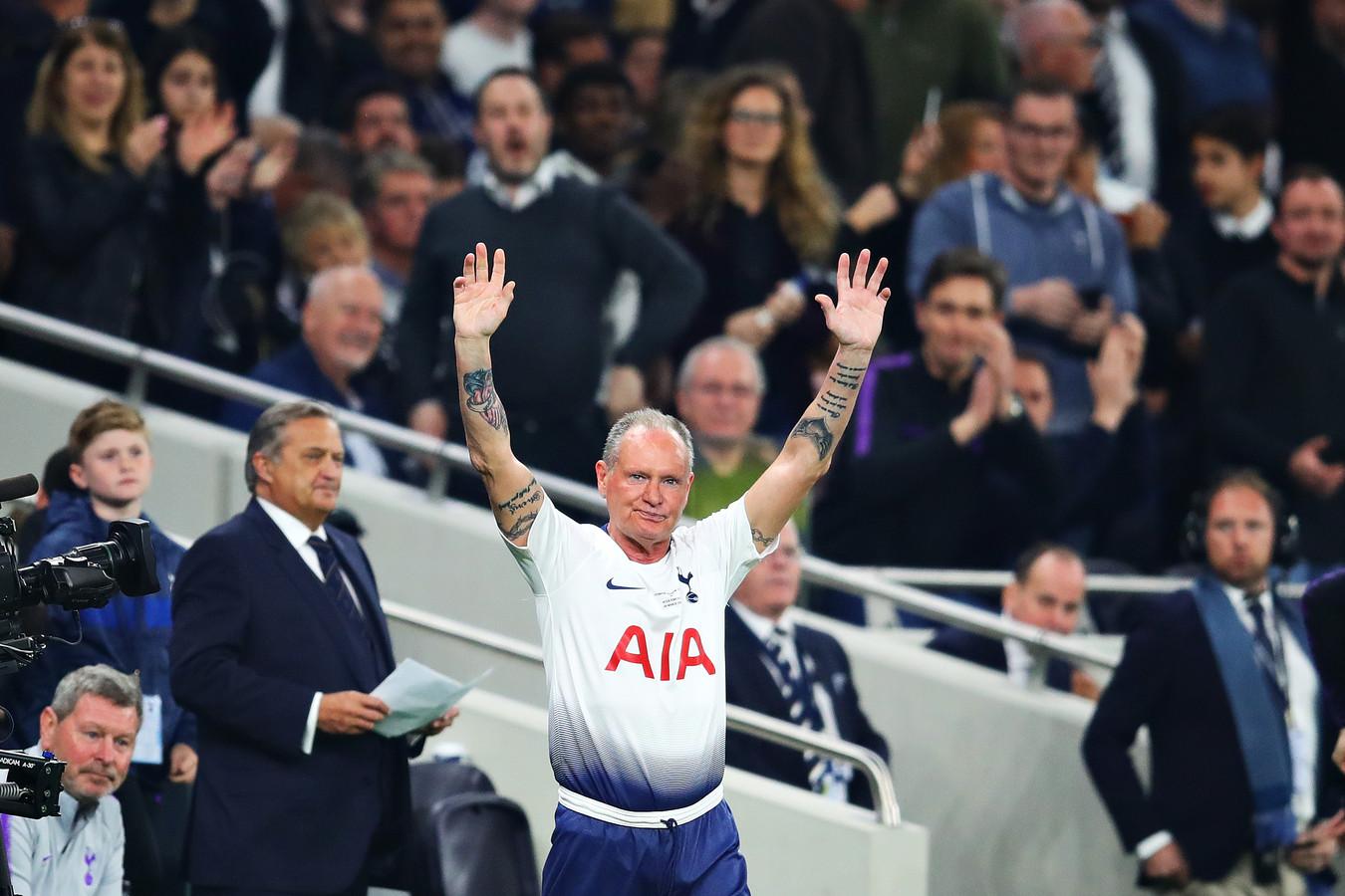Paul Gascoigne, in 2019 voor even terug op een voetbalveld voor een galawedstrijd tussen Tottenham Hotspur en Inter.