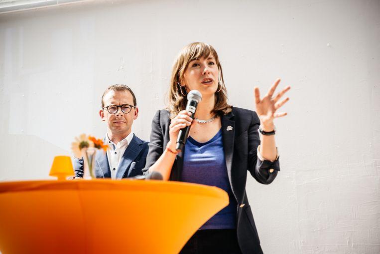 Sarah Claerhout als lijsttrekker van CD&V in Gent in aanwezigheid van CD&V voorzitter Wouter Beke. Beeld Wouter Van Vooren