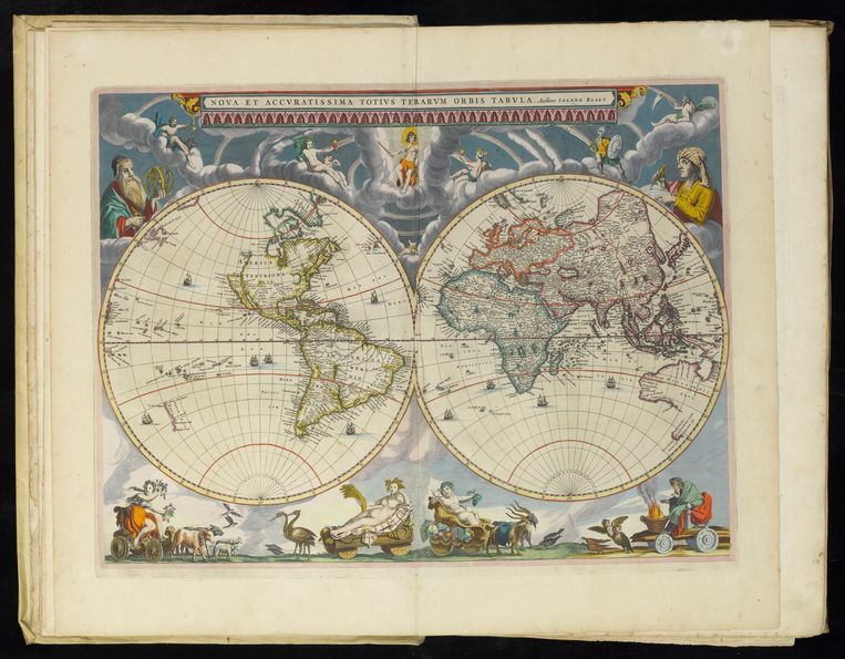 Een handmatig ingekleurde afbeelding uit de Atlas Maior, gemaakt door zoon Joan Blaeu. Beeld Allard Pierson