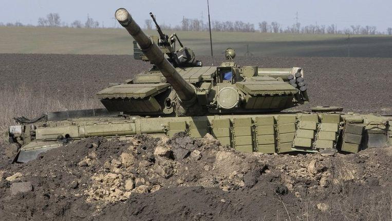 Een Russische tank in het grensgebied met Oekraïne