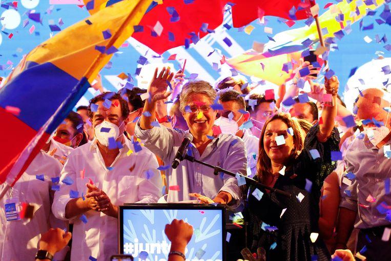 De rechtse presidentskandidaat Guillermo Lasso, van de 'Creëer Kansen Partij' (CREO) heeft de presidentsverkiezingen in Ecuador gewonnen. Beeld AP