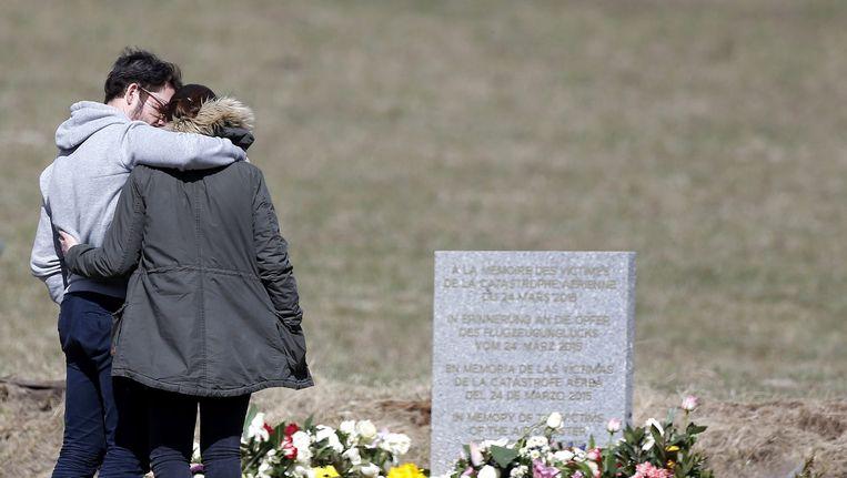 Nabestaanden van de inzittenden van de gecrashte Airbus van Germanwings Beeld anp